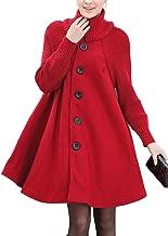 AUSZOSLT Women's Knit Sleeves Wool Cloak Coat Turtleneck Button Down A Lined Overcoat