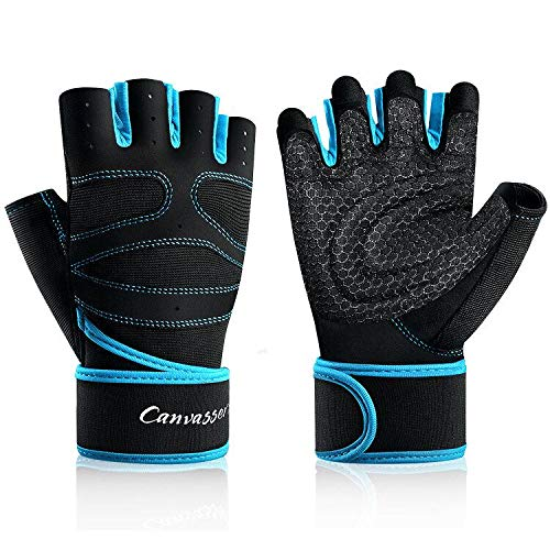 Thiroom Workout Gloves with Wrist Wrap Support for Men & Women Shorty Fingerless Gym Gloves Exercise Training Gloves for Weightlifting Training Fitness Hanging (Blue, XXL)