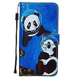 Miagon pour Samsung Galaxy A11 Housse en PU Cuir,Coque Etui Portefeuille à Rabat Clapet Support Fermeture Magnétique Stand Case Cover,Bleu Panda