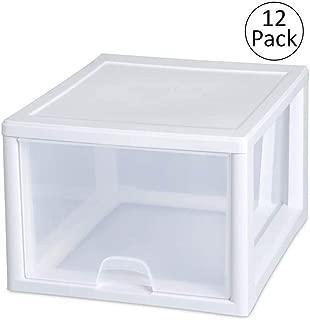 Sterilite 2310 27-Quart Single Stacking Drawer - Clear (12 Pack)