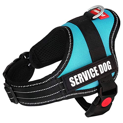 """Fairwin Service Vest Dog Harness - Adjustable Nylon with Removable Reflective Patches for Service Dogs Large Medium Small Sizes (XS:Chest 18""""-21"""";Neck 11""""-14"""", Blue)"""