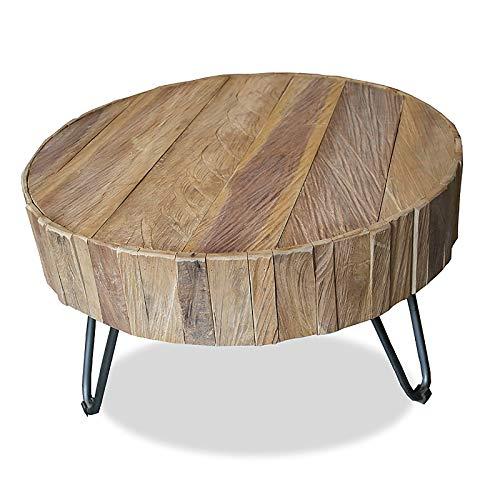 MÖBEL IDEAL Couchtisch aus massivem Teak/Teakholz im rustikalen Design Tisch - Ø 70 cm x H 43 cm - Beistelltisch in Braun Massivholz