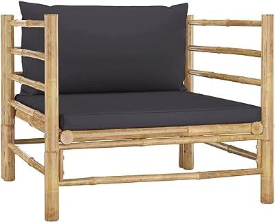 vidaXL Canapé de Jardin avec Coussins Canapé de Patio Meuble de Terrasse Canapé Sectionnel d'Extérieur Arrière-Cour Gris Foncé Bambou