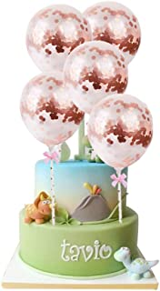 5 Pack Rose Gold Confetti Balloon Cake Cupcake Topper Latex Balloons for Birthday Wedding Anniversary Baby Shower Party Baking Decoration Supplies 5 inch