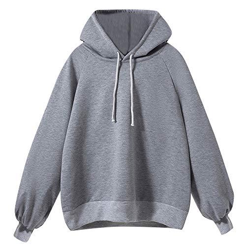 Preisvergleich Produktbild KEERADS Damen Pullover Langarm Basic Sweatshirt Langarmshirt Hoodie(L, 2Grau)