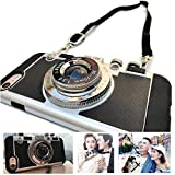 New Emily in Paris Phone case Vintage Camera Compatible for iPhone 11 PRO MAX/X/XS/MAX with Long Strap Rope (Black, for 11 Pro Max)