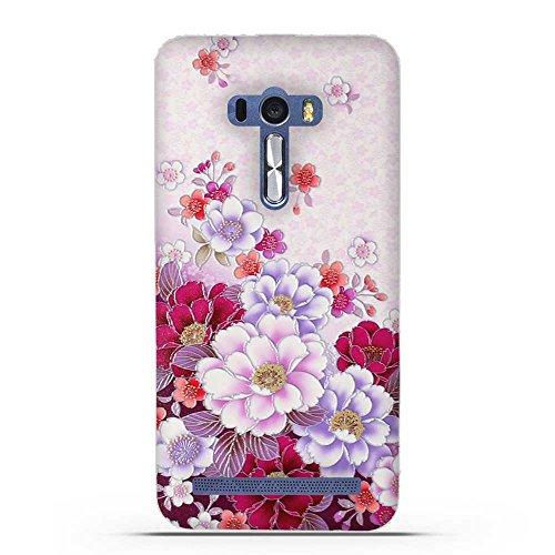 FUBAODA für Asus ZenFone Selfie ZD551KL Hülle, 3D Erleichterung Klassische Blume Muster TPU Case Schutzhülle Silikon Case für Asus ZenFone Selfie ZD551KL