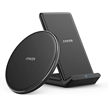 Anker Wireless Chargers Bundle, PowerWave Pad & Stand Upgraded, Qi-Certified, 7.5W for iPhone 11, 11 Pro, 11 Pro Max, Xs Max, XR, XS, X, 8, 10W for Galaxy S20 S10 S9, Note 10 Note 9 (No AC Adapter)