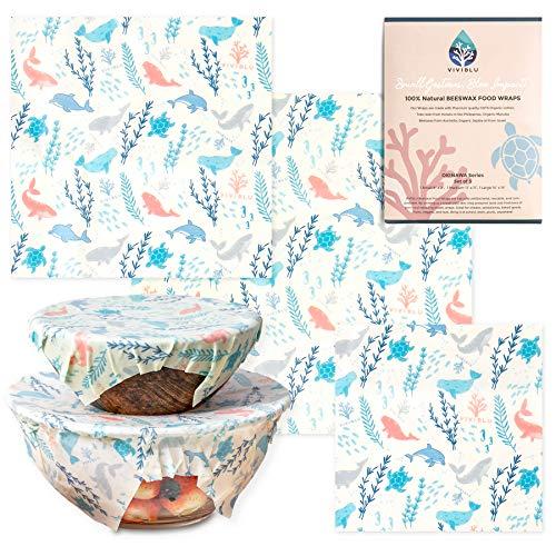 VIVIBLU オーガニック みつろうラップ 再利用可能&エコフレンドリー 蜜蝋ラップ 沖縄モチーフデザインシリーズ Beeswax Wrap S,M,Lの3枚セット