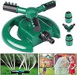Aspersor de jardín, Emooqi Aspersor automático de agua para césped Rociador giratorio de 360º y 3 brazos Con conector de agua en forma de Y para césped, jardines, cultivos, plantas Flores Vegetales