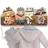Perchero infantil multicolor con 4 ganchos, perchero de pared, perchero, perchero de pared, perchero para niños, tamaño aprox. : 40 x 15 x 1 cm. Cisn.