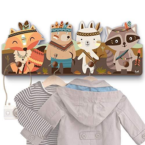 Colorido perchero de pared infantil con 4ganchos, ideal para colgar la ropa de los niños en una habitación infantil y con unas medidas aproximadas de 40x15x1cm Cisn.