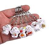 Gwill 6 emballer un ensemble aléatoire porte-clés porte-clés chat japonais chanceux, Fengshui Fortune porte-clés chat Kitty porte-clés mascotte bonne santé éviter le mal, 6pcs