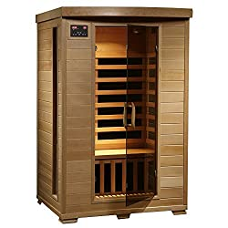 product shot of 2-person infrared sauna in wood