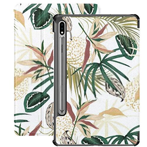 Funda Galaxy Tablet S7 Plus de 12,4 Pulgadas 2020 con Soporte para bolígrafo S, Vector Transparente patrón Tropical exótico Tropic Funda Protectora Delgada con Soporte para Samsung