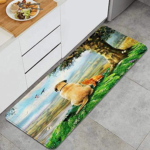 LISNIANY Alfombras para Cocina Baño de Cocina Absorbente Alfombrilla,Árbol Gato Perro Mirador,para Dormitorio Baño Antideslizantes Lavables