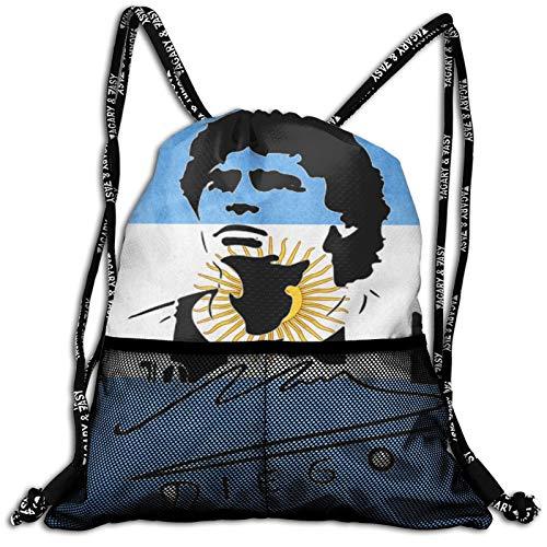 VOROY Funda con cordón para niños, mochila de gimnasio con icono de fútbol, Diego Armando Maradona, mochila deportiva para niños