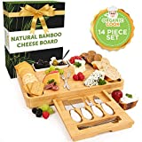 Bamboo Cheese Board and Knife Set with drawer, Charcuterie Board Set Large (15 x 12 inch) includes Ceramic Bowls, Serving Forks, Cheese Knives, Ideal Wedding Gift, Housewarming, Birthday (The Festa)