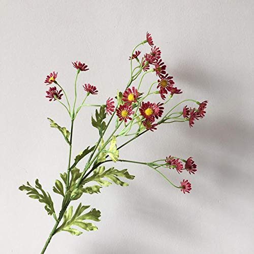 5 Daisy Flowers Artificial Silk Chamomile Flowers For Wedding Diy Party Home Decoration-Red