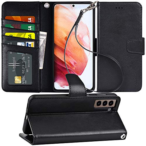 Arae Case for Samsung Galaxy S21 Wallet Case Flip Cover with Card Holder and Wrist Strap for Samsung Galaxy S21, 6.2 inch (Black)