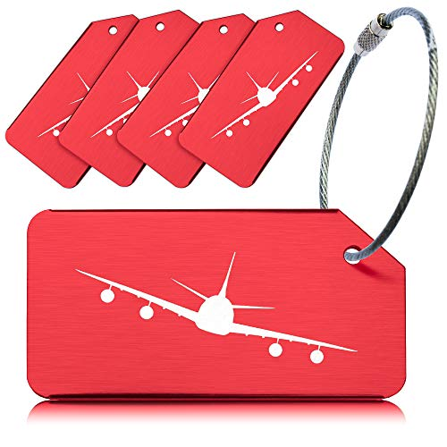 OCTiLUX Luggage Tags for Travel Suitcase Aluminium Aero Design 5 Pack Red