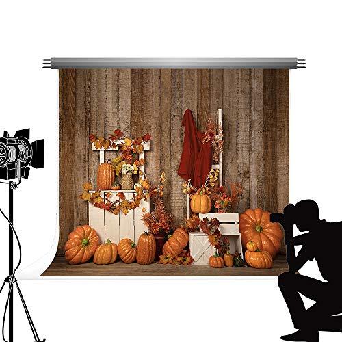 Kate 2.2x1.5m Fondos de fotografía de Halloween Calabaza Linterna Decoración Fondo Otoño Cosecha Fotografía Familiar Accesorios de Piso de Madera para Estudio