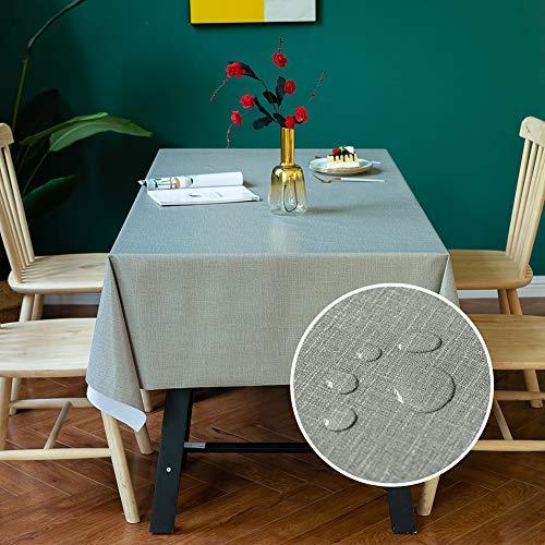 Carvapet PVC Manteles Impermeable Manteles Mesa Antimanchas Mantel Rectangular para Comedor Cocina (Gris, 137x185cm)