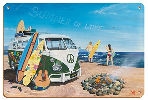 Summer of Love - Classic VW Volkswagen Van on Beach with Surfboards - From an Original Color Painting by Scott Westmoreland - 8in x 12in Vintage Wood Art Sign