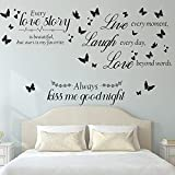 3 Pieces Every Love is Beautiful Wall Quotes Stickers Kiss Me Goodnight Wall Stickers Live Laugh Love Vinyl Wall Decals for Lover Couple Family Home Bedroom Living Room Art Wall Decorations