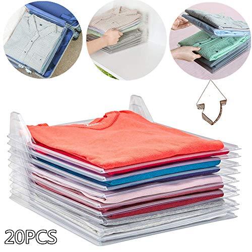 Nifogo Clothes Folding Board Closet Organizer - Organizzatore di Armadi,T-Shirt Folder-Cartella di File,Anti-umidità e Anti-Rughe. Organizzatore Salvaspazio per Abbigliamento, Camicie (20PCS)