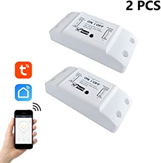 EACHEN WiFi Smart Switch Compatible with Alexa Google Home Voice Control Wifi Relay Switch Module DIY Your Smart Home Using Tuya Smartlife APP for iOS Android AC 90-250V 2200W (2Pack)