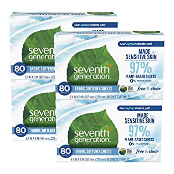 Seventh Generation Dryer Sheets Fabric Softener Free & Clear Fragrance Free 80 Sheets  Pack of 4