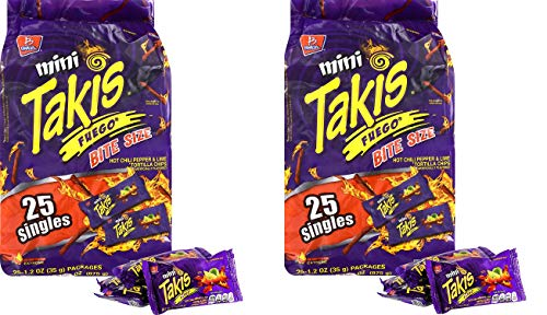Product Of Barcel Takis , Mini Fuego Bag , Count 25 (1.2 oz) - Chips / Grab Varieties & Flavors (Two Pack)