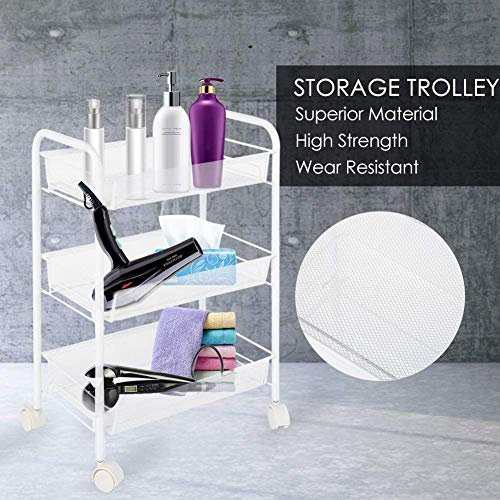 Dljyy Removable 3 Tiers Metal Rolling Wheel Storage Trolley/Serving Trolley/Storage Rack/Storage Unit/Utility Trolley Carts for Hair Salons Beauty Salons/45x27x63cm