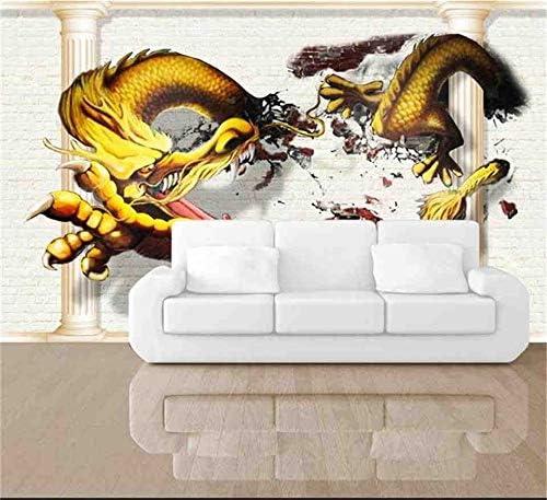 3D Custom Wallpaper Same day shipping Chicago Mall Golden Flying Silk Wall Tre Dragon