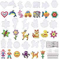 FunzBo Fuse Beads Pegboards Set for Melting Beads - 20 Pieces Clear Plastic Melty Bead Pegboard Templates with Paper Patterns, Tweezers, Lanyards, Key Chains, and Jump Rings for DIY Craft Beads