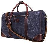 Addey Supply Company 20' Leather Canvas Duffle Bag Weekender Bag and Women 20 X 9 X 11 inch Walnut
