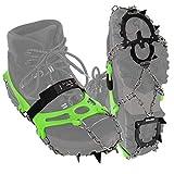 ALPIDEX Crampones Antidesilisantes 12 Dientes Acero Inoxidable Crampones Zapatos Escalada Hielo Barro Nieve Alpinismo Marcha Invierno, Tamaño:XL, Color:Green