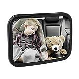 MoKoベビーカーミラー 飛散防止アクリルバックシートミラー 車のリアビュー 幼児用 調節可能なリアフェイシングミラー 赤ちゃんの安全のためのワイドクリアビュー ブラック
