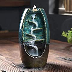 CERAMIC MATERIAL: The backflow incense burner is made of ceramic material, handmade and noble. Flush the incense burner body with boiling water, and the stain on the burners will be removed. Backflow Incense burner must work in a windless environment...
