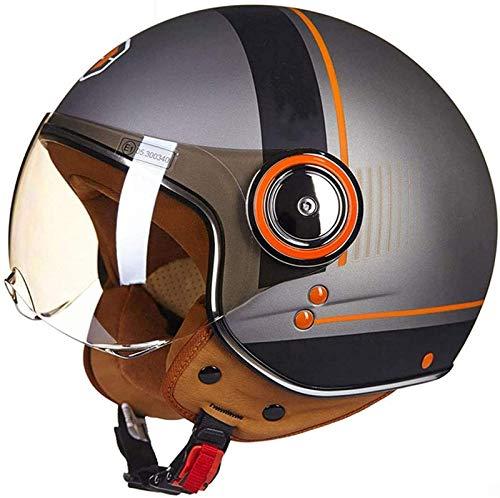 QDY Casco de Motocicleta, Medio Casco Retro para Hombres y Mujeres con Certificado Dot Vintage 3/4, Casco de piloto de Personalidad de Cara Abierta, Adecuado para ciclomotor ATV Cruiser Chop