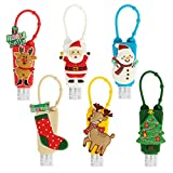 6 Sets Christmas Themed Silicone Hand Cleaner Holders- Empty Travel Keychain Carriers with Hand...