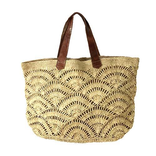 Mar Y Sol Tulum Crocheted Raffia Carryall Tote Bag, Natural