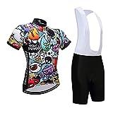 LY1 Hombres Mujeres Verano Ciclismo Camiseta de Manga Corta Y Pantalón Corto con Pechera De Gel, Kits de Maillot de Ciclismo Trajes de Ropa Transpirable MTB,B,XXL
