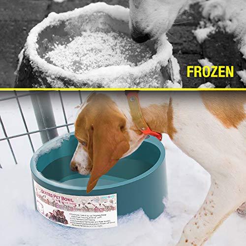 Qiraoxy Cuenco para Mascotas de Invierno Productos para Mascotas Interruptor de Encendido/Apagado del Cuenco Térmico para Perros Pequeños Y Grandes