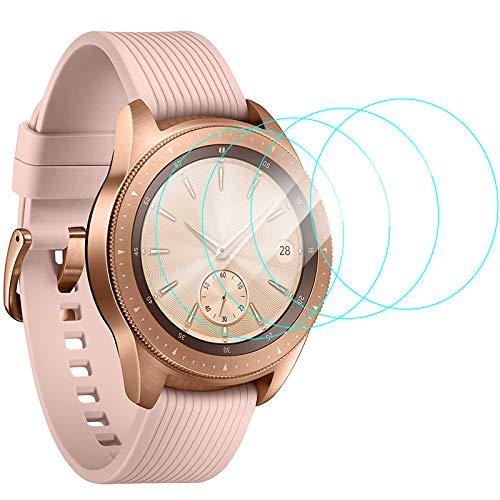 CAVN Pellicola Protettiva Compatibile con Samsung Galaxy Watch 42mm Pellicola Schermo [4-Pezzi], Protezione Schermo in Vetro Temperato Durezza Anti-graffio Anti-Bolle Protezione per Galaxy Watch 42mm