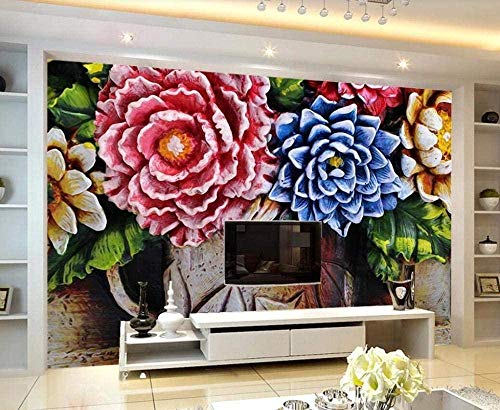 Foto Wallpaper Wandbild - Flower Relief Farbe Frisch * 150 * 105cm Benutzerdefinierte 3D Wallpaper DIY Dekor-XXL Wandbild Kunst Wohnzimmer Schlafzimmer Deckenwandbild