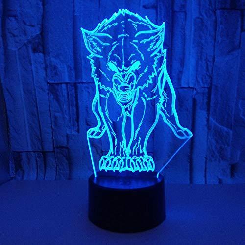 Wolf 3D Tischlampe bunte Berührung Fernbedienung LED visuelles Licht kreatives Geschenk 3D Nachtlicht Milla Jovovich