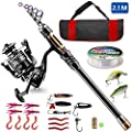 BlueFire Fishing Rod Kit, Carbon Fiber Telescopic Fishing Pole and Reel Combo with Spinning Reel, Line, Lure, Hooks and Carrier Bag, Fishing Gear Set for Beginner Adults Saltwater Freshwater