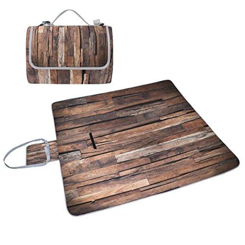 COOSUN Design von dunklen Holz Hintergrund Picknick Decke Tote Handlich Matte Mehltau resistent und wasserfest Camping Matte für Picknicks, Strände, Wandern, Reisen, Rving und Ausflüge